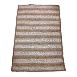 Jute Floor Rug w/Wide Stripe