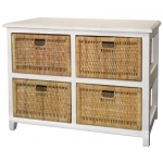 Bondi Rattan 4 Drawer Cabinet - White