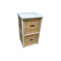 Bondi Rattan 2 Drawer Cabinet - White