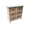 Bondi Rattan 6 Drawer Cabinet - White